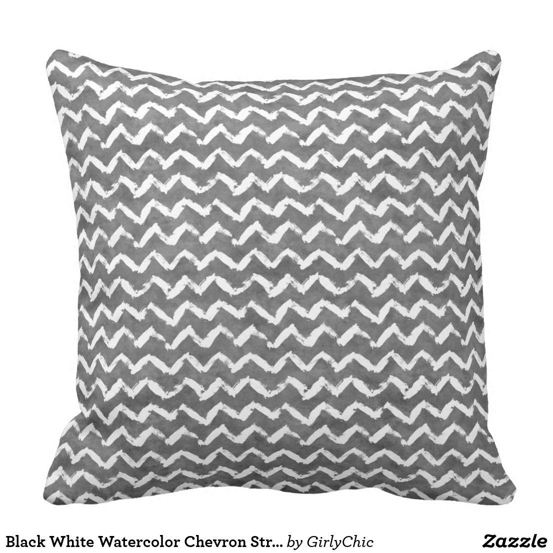 Black white watercolor chevron stripes throw pillow for the home