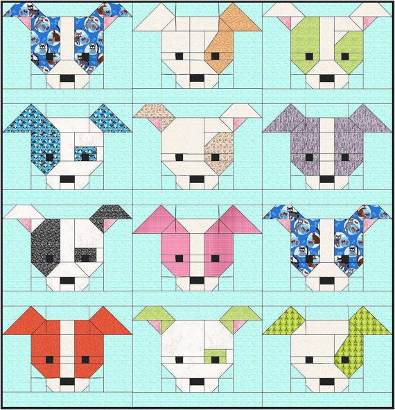 Dog Gone Cute Quilt Pattern PDF Instant Download modern patchwork Mesmerizing Dog Quilt Patterns