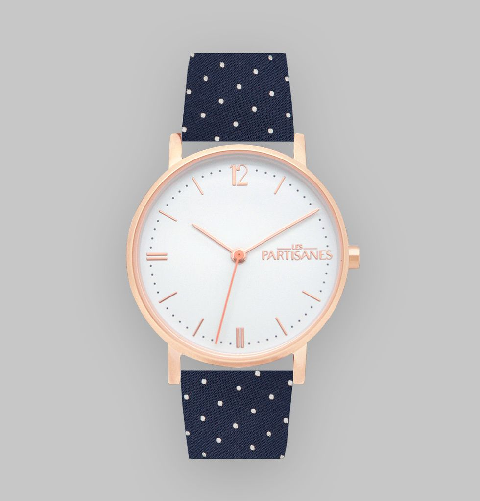 montre bracelet simple tour en tissu pois bleu marine arri re cuir v ritable bracelet. Black Bedroom Furniture Sets. Home Design Ideas