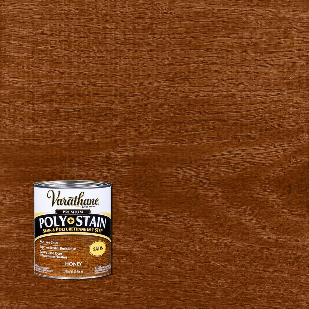 Varathane 1 Qt Honey Satin Oil Based Interior Stain And Polyurethane 2 Pack In 2020 Honey