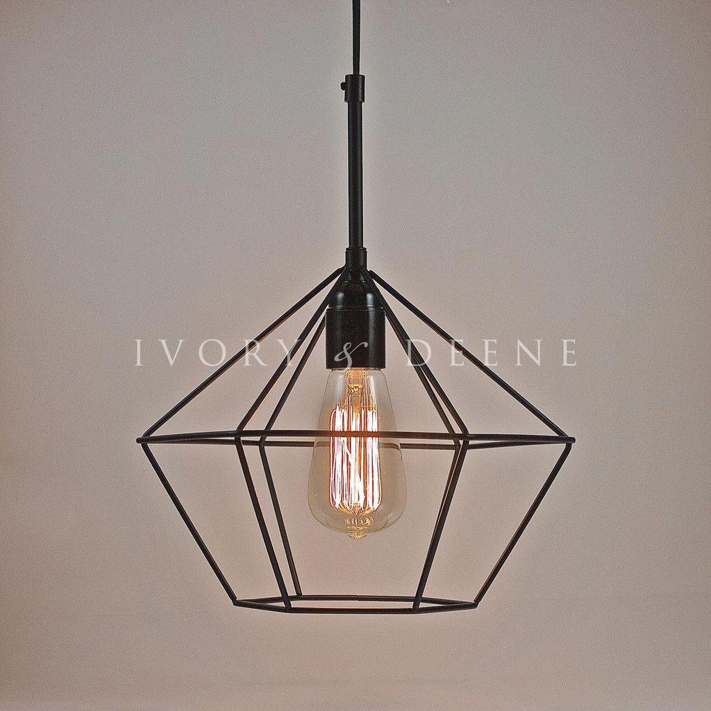 Diamond pendant black wire light 75 interiors pinterest black diamond pendant light for kitchen dining living room arubaitofo Choice Image