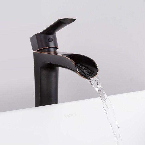 VIGO Niko Bathroom Vessel Faucet in Antique Rubbed Bronze with Pop ...