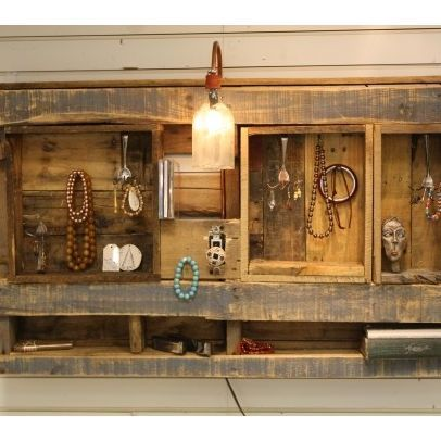 pallet wall unit   ... . Wall-hanging unit made from recycled barn ...