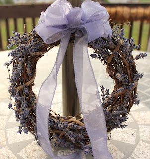 Small grapevine wreath with lavender sprigs