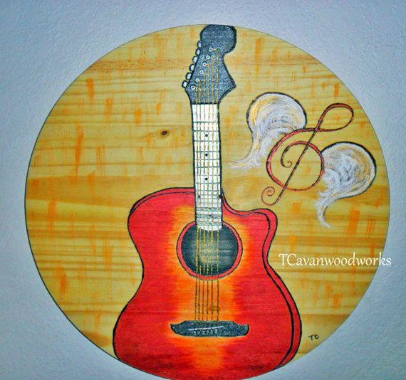 Acoustic Guitar painting, artwork, guitar decor, guitar player gift ...