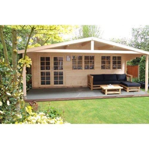Details Zu Gartenhaus Holz 6x3m Blockhaus 40 Mm Holzhaus Mit Veranda
