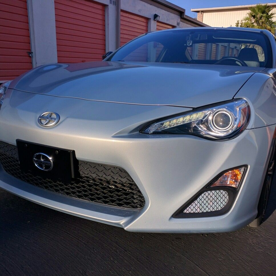 Diy fog light cover overlay for the scion frs made with silver fish scale medium