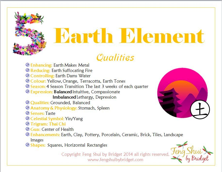 Feng Shui by Bridget's Earth Element Qualities. Join me on Facebook for  your Daily Inspirations