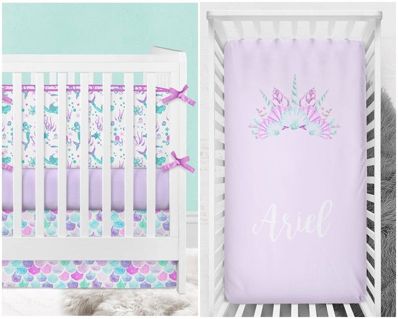 Mermaid Crib Bedding Girl Baby Bedding Scales Seashells Etsy In 2020 Mermaid Crib Bedding Mermaid Baby Bedding Crib Bedding Girl