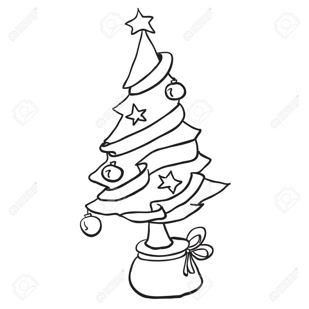 Simple Black And White Christmas Tree Cartoon Christmas Tree Card Balls Star Gi Balls Bla In 2020 Cartoon Christmas Tree Christmas Tree Cards White Christmas Tree