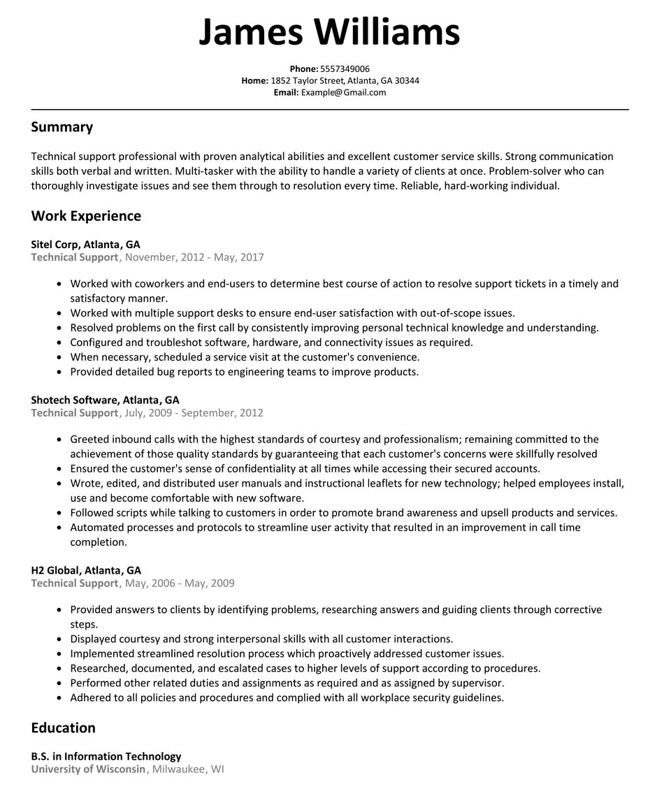 30 Technical Support Specialist Resume in 2020 Job