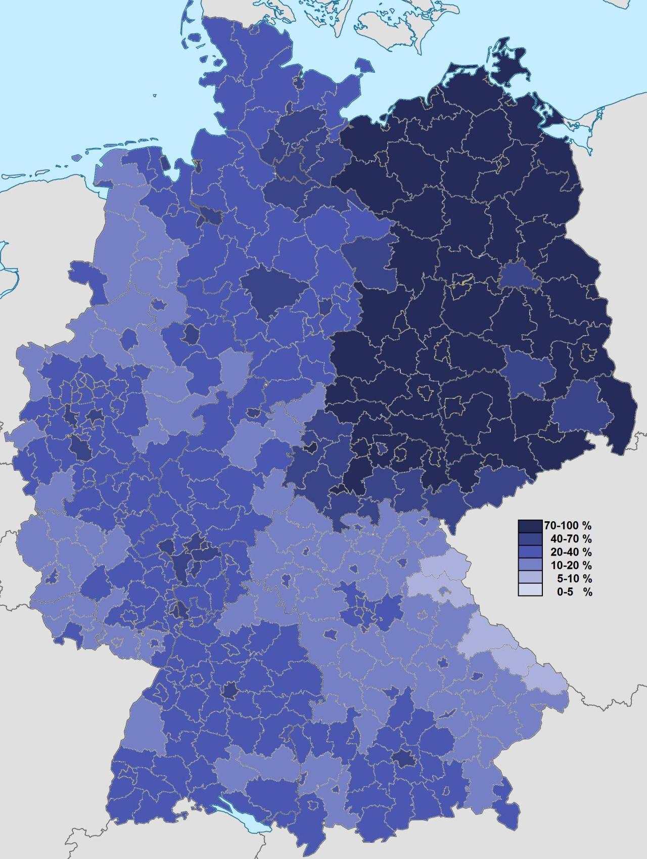 Non Religious population of Germany Non Religious population of