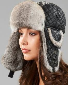 ec6aba92f07 Black Diamond Quilted Rabbit Fur Trapper Hat