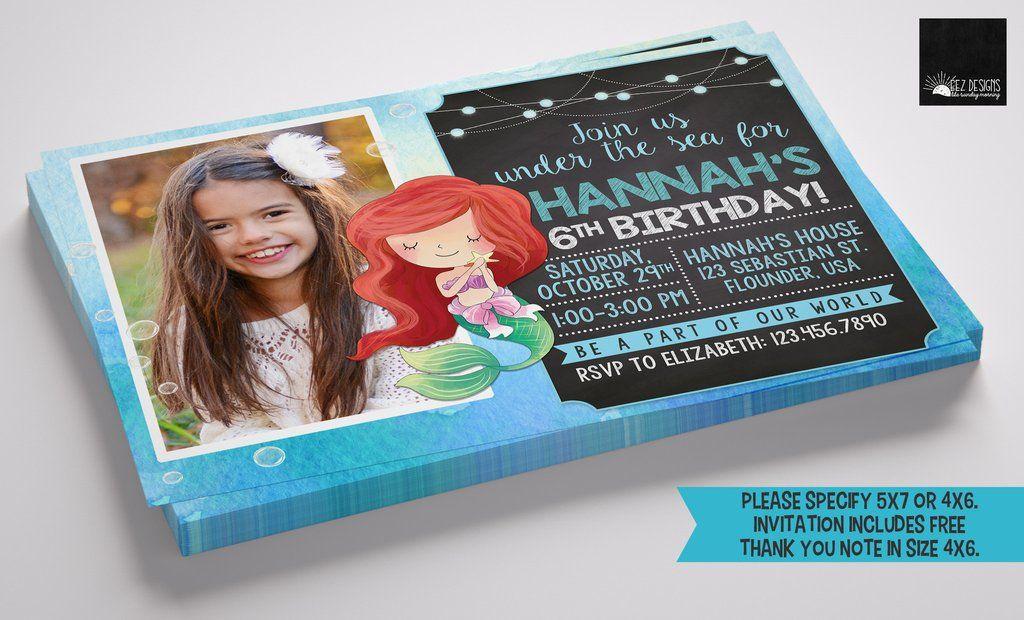 Mermaid digital birthday invitation with free thank you note mermaid digital birthday invitation with free thank you note stopboris Images