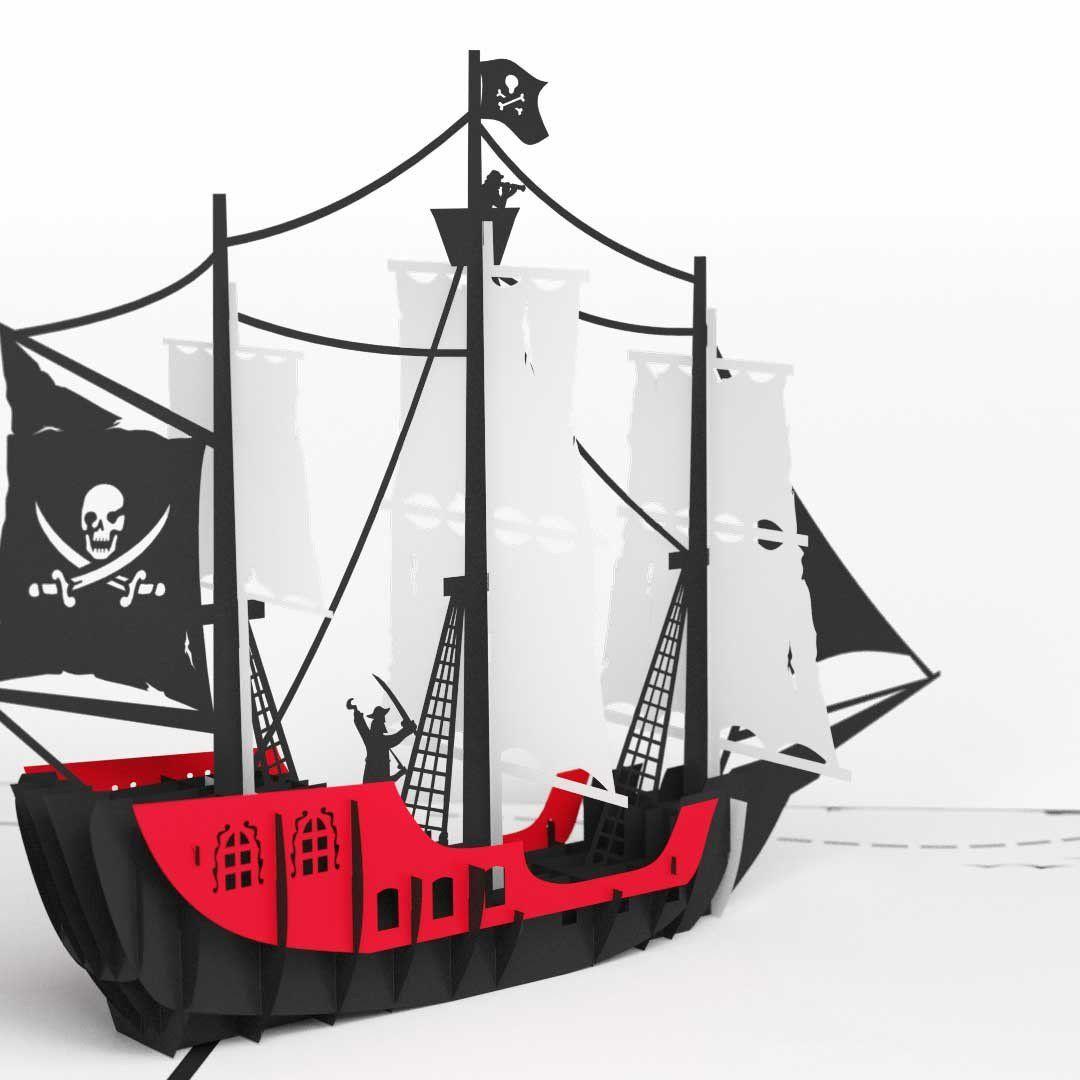 Pirate Ship birthday pop up card - thumbnail