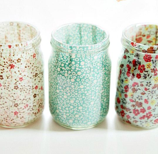 fabric lined mason jars. Add flameless tea light