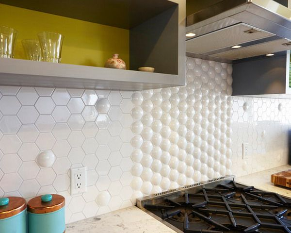 Nice White Hexagon Backsplash for Mid Century Modern Kitchen