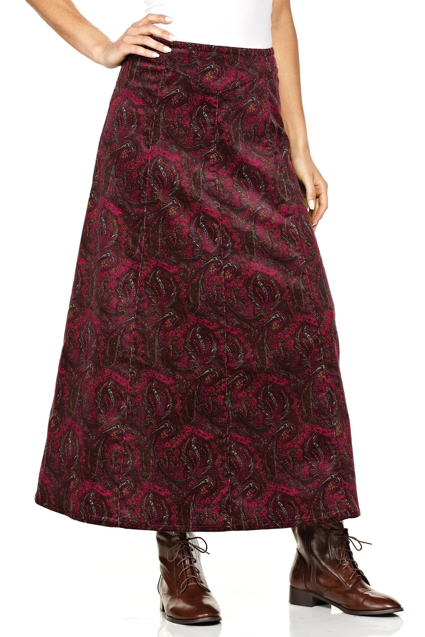 Long A-Line Corduroy Skirt