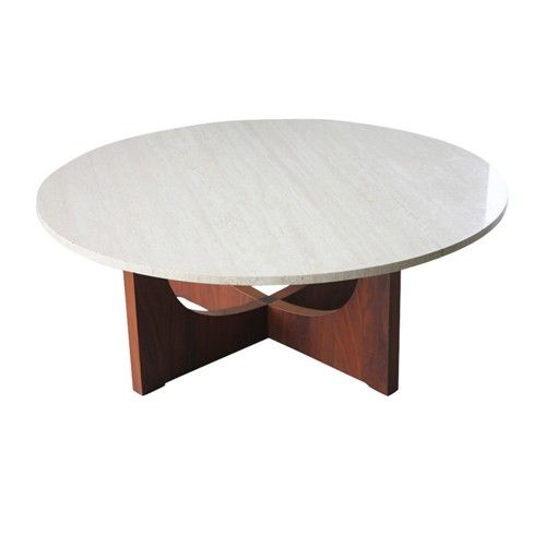 Italian Travertine Coffee Table Travertine and Wood Round Table