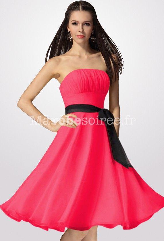 Robe de soiree courte rose et noir