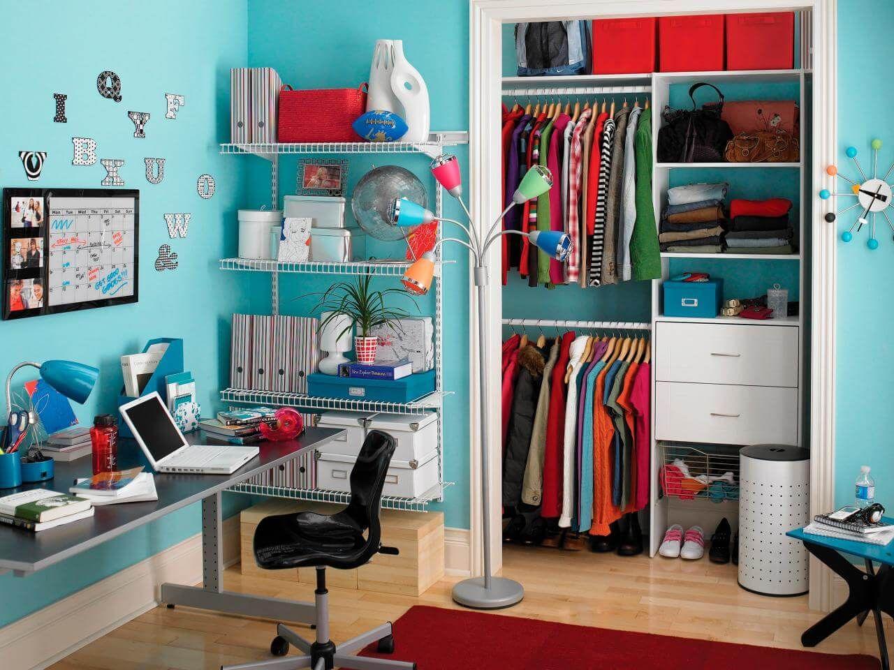 Closet Pequeno Em Quarto De Solteiro Com Decora O Colorida  ~ Diy Decoração Quarto Feminino E Quarto Pequeno Com Closed