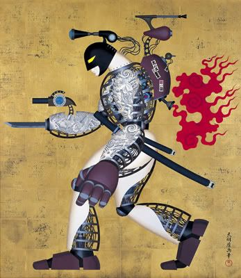 Artist Tenmyouya Hisashi takes traditional Japanese art, modern culture, graffiti tags and Japanese typography, Western stereotypes about Japan and makes a heady mix. These are some of my favorite things. Japanese Spirit #13  2000  Acrylic, Gold leaf, Wood  106.5×91cm