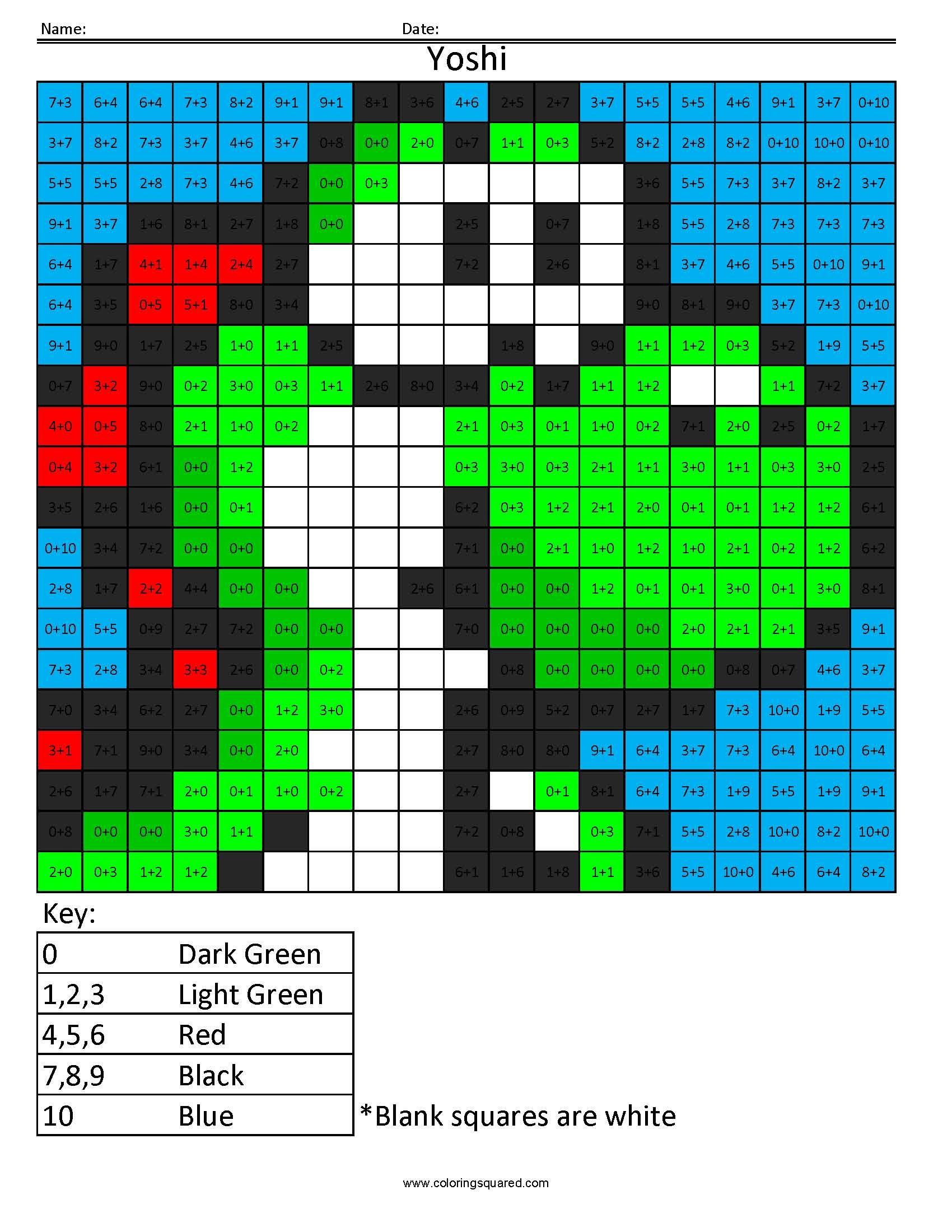Nintendo Math Coloring Pixel Puzzles   \