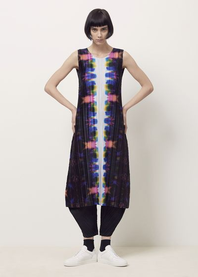 Issey Miyake PLEATS PLEASE Pink Dip Dyed Sleeveless Dress