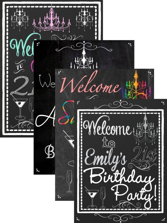 21st birthday ideas, 21st birthday party decorations, custom 21st birthday sign, birthday party welcome sign chalkboard style, SGNADL01 #21stbirthdaysigns 21st birthday party welcome sign or any age by CustomPrintablesNY #21stbirthdaysigns