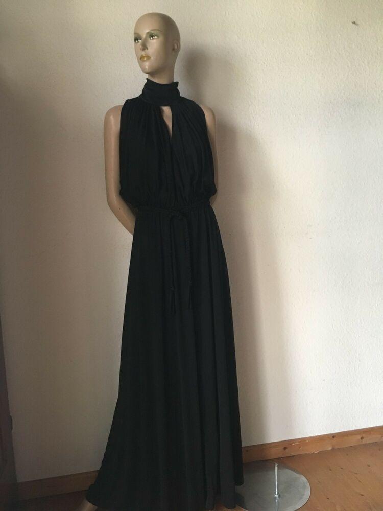 Maxikleid vintage Kleid Jersey schwarz Abendkleid 42 44 46 ...