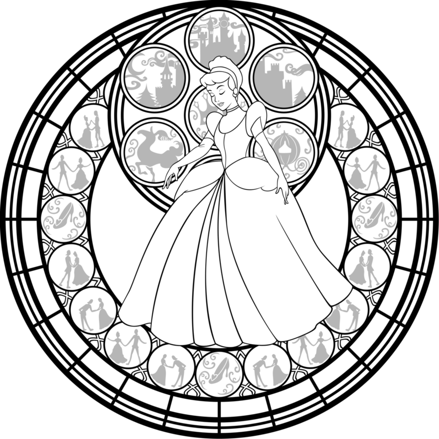 Cinderella stained glass vector line art by akiliamethyst on
