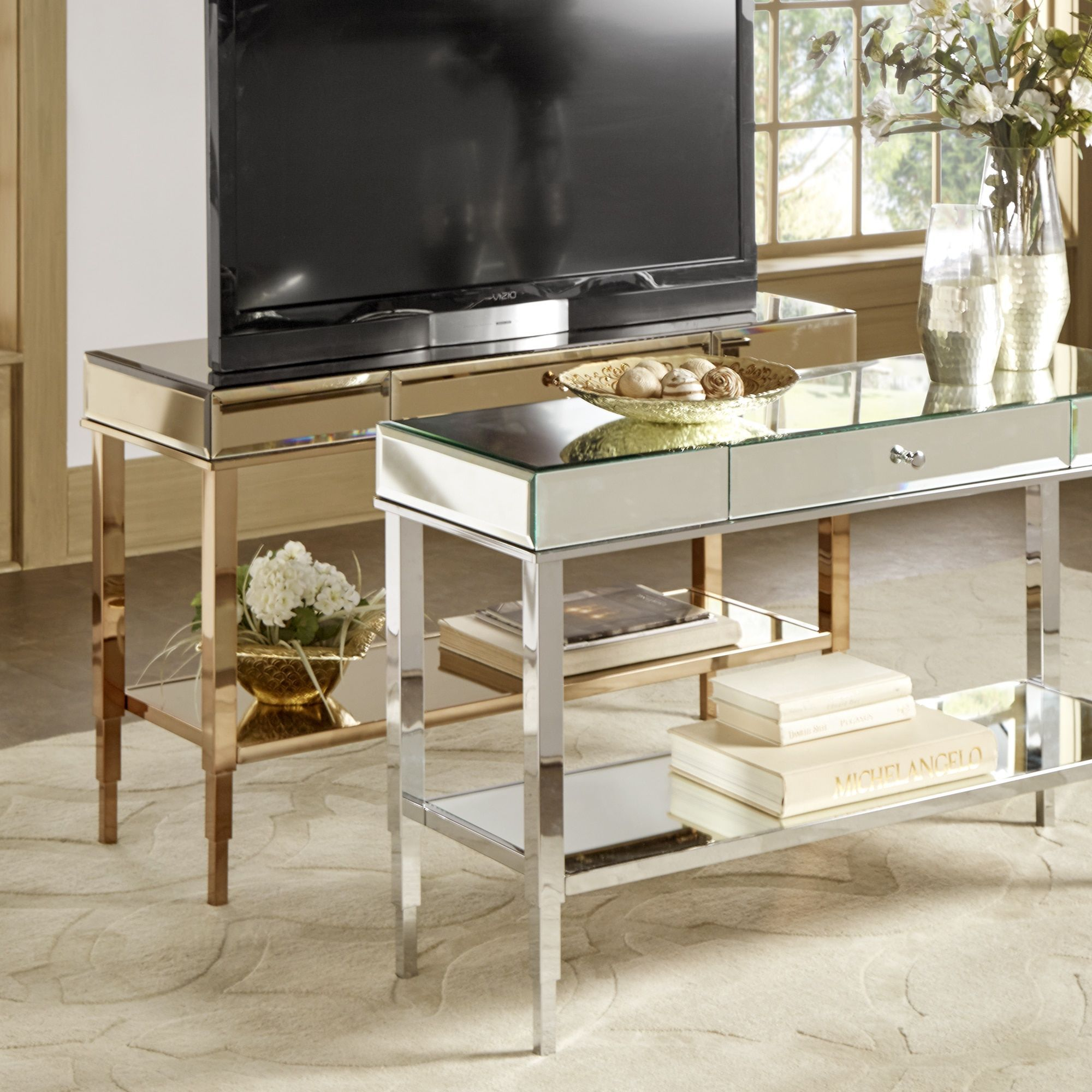 Camille Glam Mirrored TV Stand Console Table with Drawer by Inspire Q  (Champagne Gold) 2288d1904c23