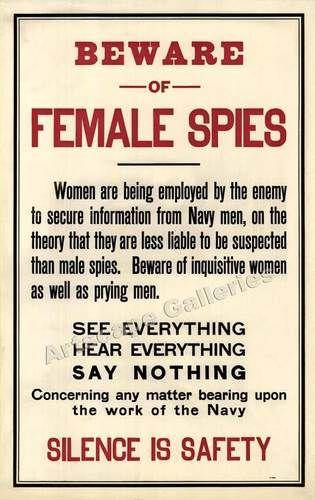 """Beware Female Spies"" World War I Classic Poster 15x24 | eBay"