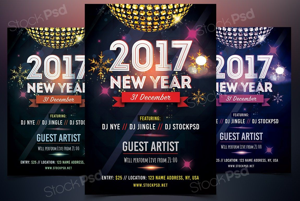 2017 NEW YEAR FREE PSD FLYER Template Free psd flyer