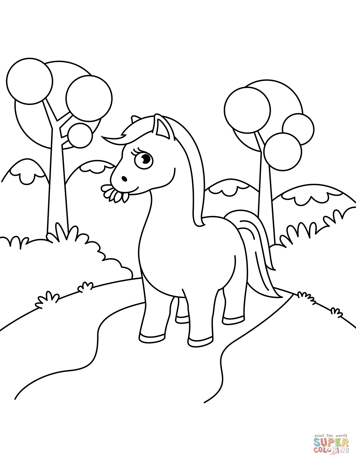 Cute horse chewing grass super coloring horse coloring pages coloring books free printable