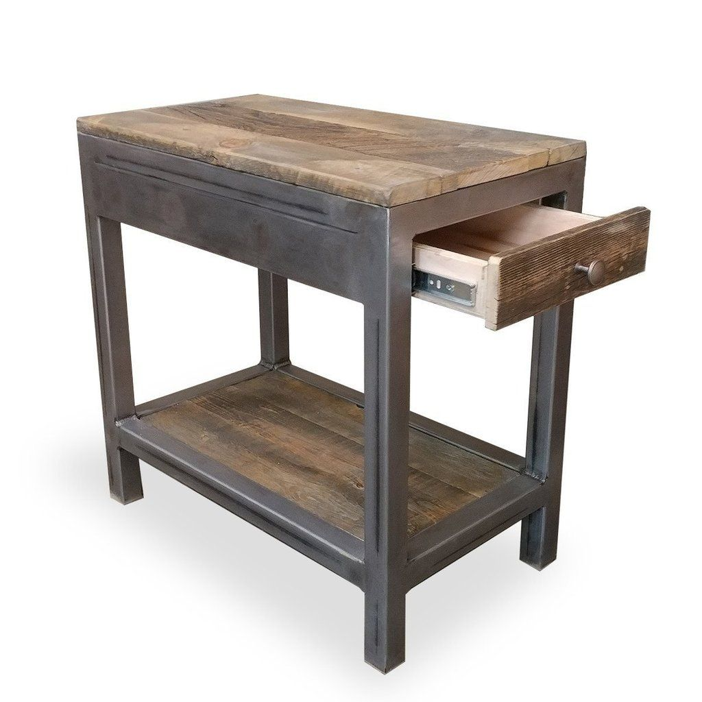 reclaimed wood and metal end table with storage in 2019 end and rh pinterest com