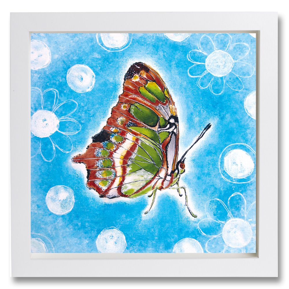 Butterfly with White Flowers on a blue background-Sterre Studio-Acryl and ink painting