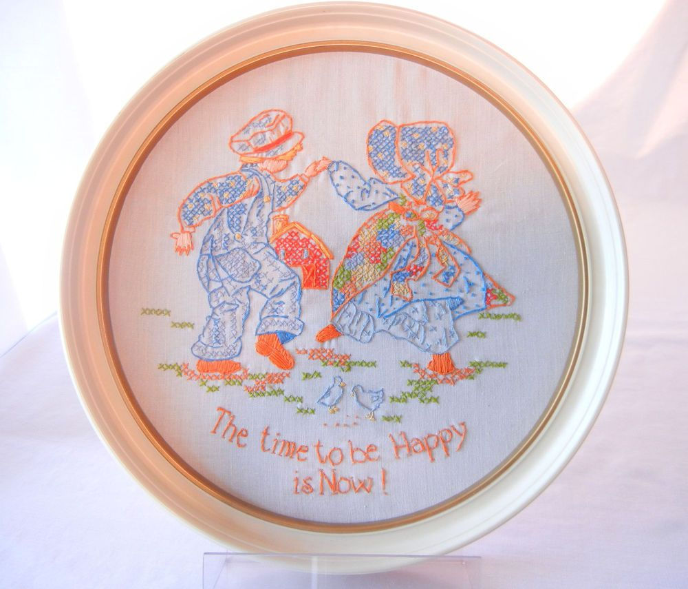Vintage Embroidery Sampler, Happy Country Pioneer Kids, Complete Framed Crewel #country