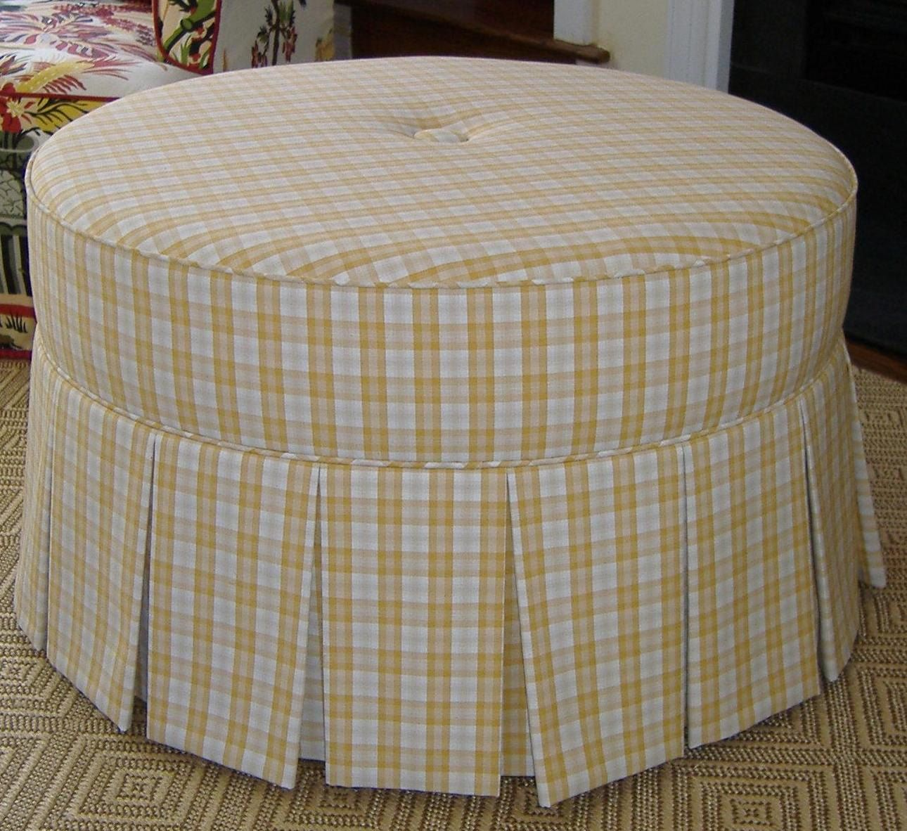 custom made round ottoman with inverted pleat skirt and button
