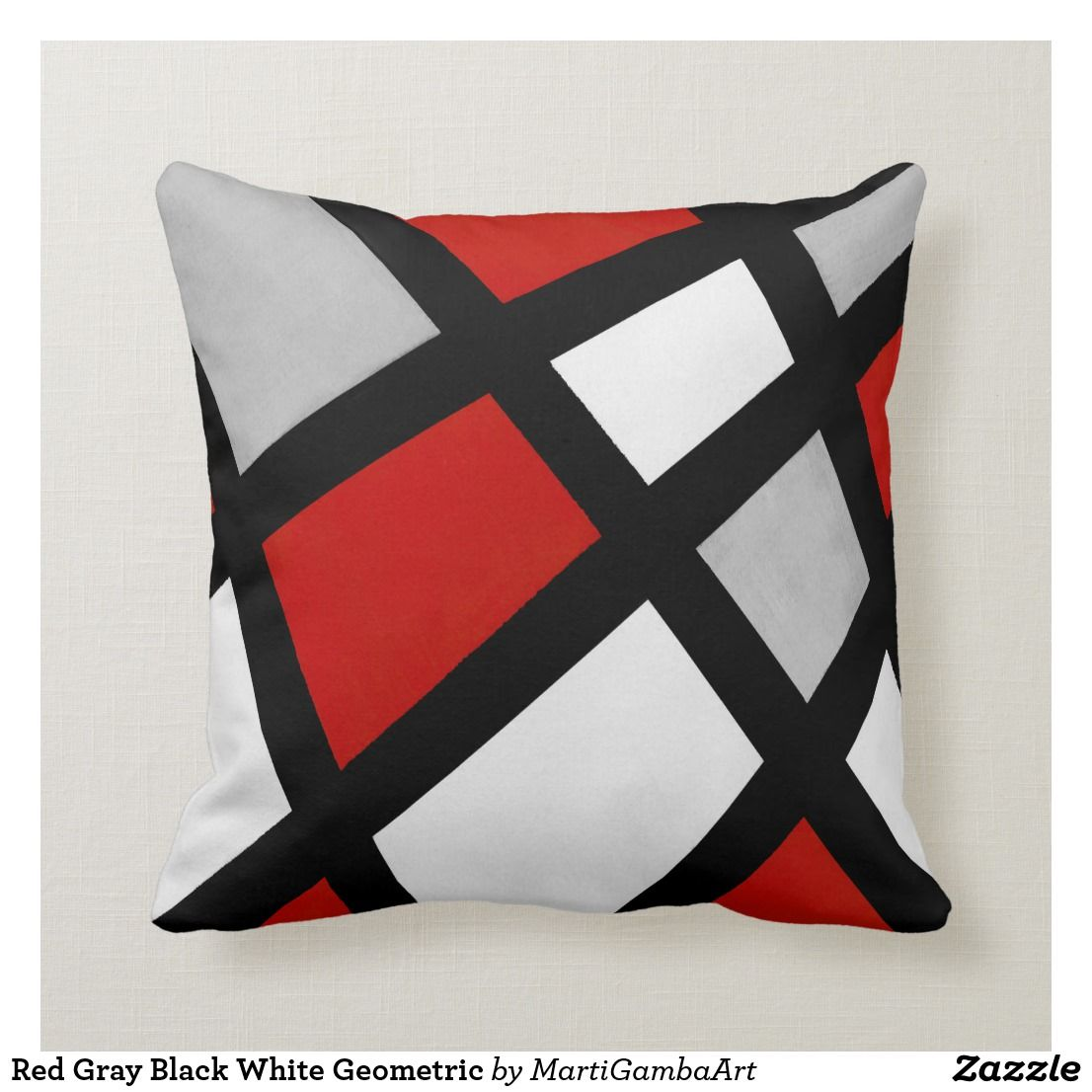 Red Gray Black White Geometric Throw Pillow Zazzle Com Geometric Throw Pillows Throw Pillows Geometric Throws