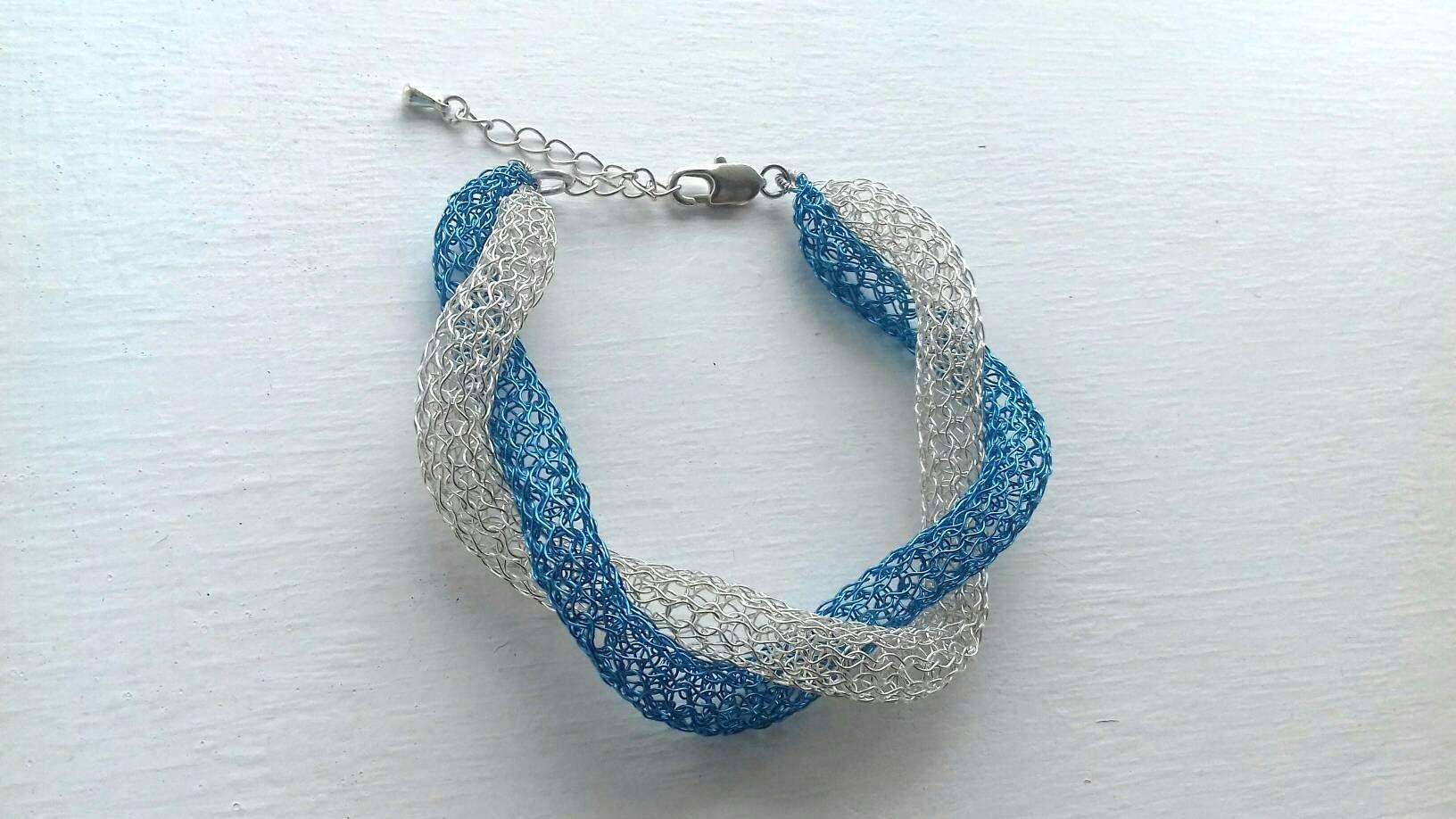 Adjustable wire crochet bracelet /Handmade bangle bracelet /Wire ...