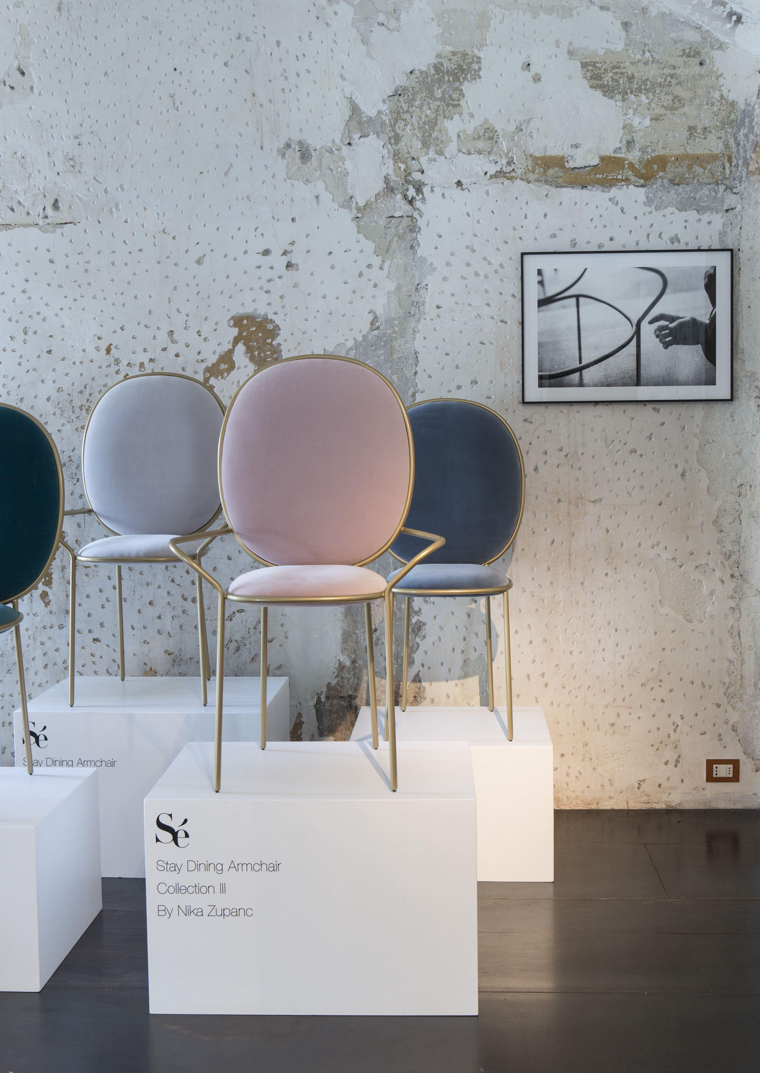 fashionable design teal dining chairs. Slovenian designer Nika Zupanc has added more furniture to her collection  for London design label S including an oversized armchair on slender steel legs Stay Dining Armchair Chair at Spazio Rossana