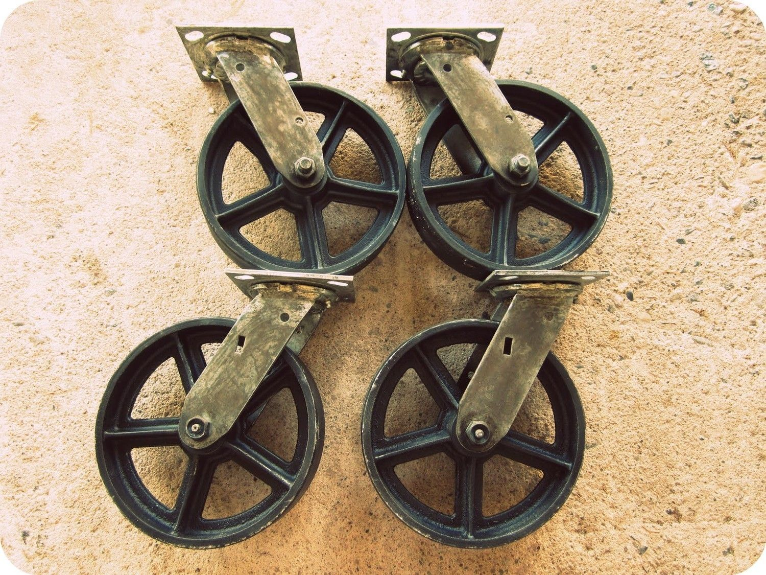 Vintage Swiveling 8 Inch Caster Wheels Antique Casters
