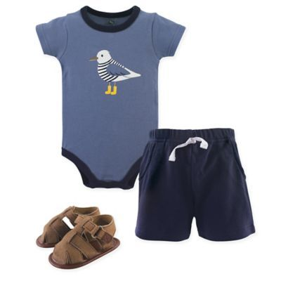 NEW Baby Boys 3 pc Outfit 3-6 Month Bodysuit Shorts Shoes Set Dinosaur Layette
