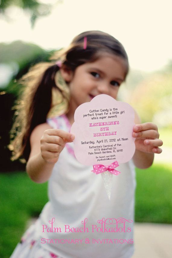 10 Cotton Candy Carnival Birthday Invitations Invite by Palm beach
