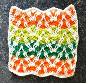 Mosaic Plaid Ripple (crochet dishcloth) free pattern by Kathleen Stuart on Best Free Crochet