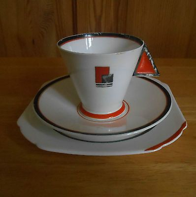 Shelley Art Deco Mode  Tea Trio Orange Blocks very rare
