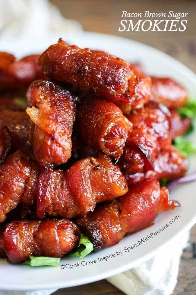 Bacon Wrapped Brown Sugar Smokies (cocktail weenies) - EASY appetizer idea for parties.