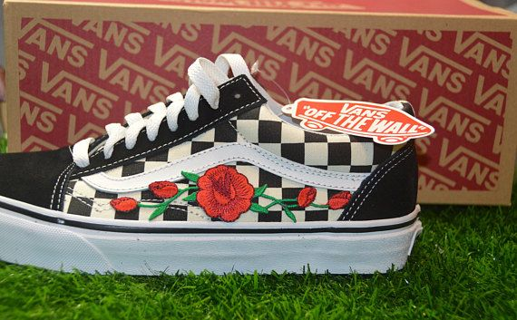 Custom Vans Primary Checkered Old Skool Black White Rose Embroidered Iron  On Shoes Sneakers 39ae5403f