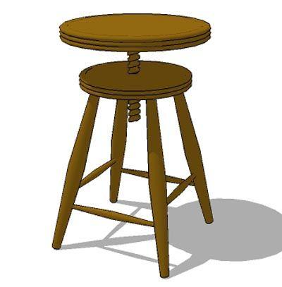 Round Teak Wood Stool, Adjustable Height.